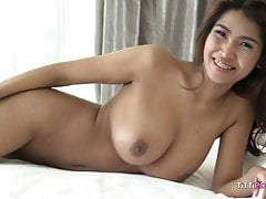busty asian girl let's foreigner fuck her raw
