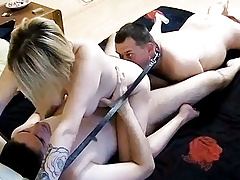 Homemade Threesome Bisex Action With Strapon on Real Cam!