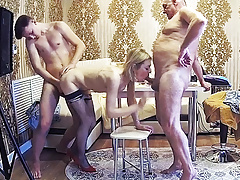 Stepfamily With Cuckold & Milf Friend In A Homemade Orgy