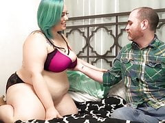 Blue Haired BBW Fucks Neighbour